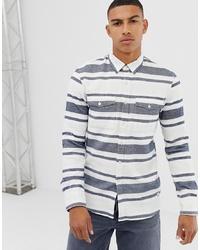 weißes und blaues horizontal gestreiftes Langarmhemd