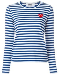 Weißes und blaues horizontal gestreiftes Langarmshirt von Comme des Garcons