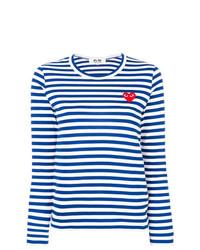 weißes und blaues horizontal gestreiftes Langarmshirt von Comme Des Garcons Play