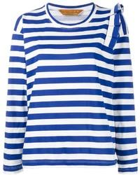 weißes und blaues horizontal gestreiftes Langarmshirt von Golden Goose Deluxe Brand