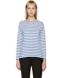 Weißes und blaues horizontal gestreiftes Langarmshirt von Saint Laurent