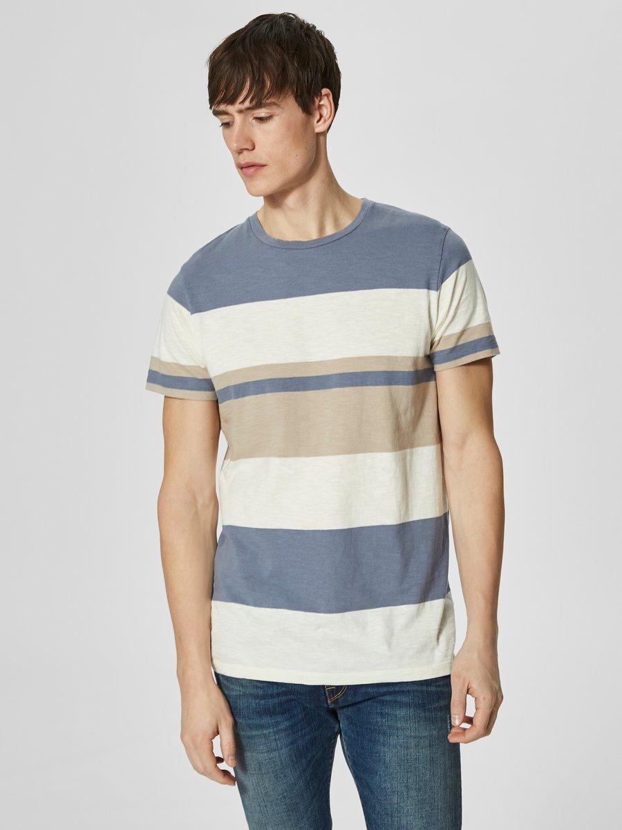 weißes und blaues horizontal gestreiftes T-Shirt mit einem Rundhalsausschnitt von Selected Homme