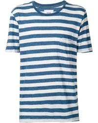 weißes und blaues horizontal gestreiftes T-Shirt mit einem Rundhalsausschnitt