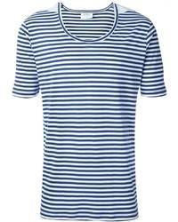 weißes und blaues horizontal gestreiftes T-Shirt mit einem Rundhalsausschnitt von THE WHITE BRIEFS