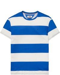 weißes und blaues horizontal gestreiftes T-Shirt mit einem Rundhalsausschnitt von Tommy Jeans