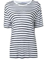 weißes und blaues horizontal gestreiftes T-Shirt mit einem Rundhalsausschnitt von Alexander Wang