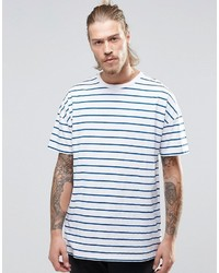 weißes und blaues horizontal gestreiftes T-Shirt mit einem Rundhalsausschnitt von Asos