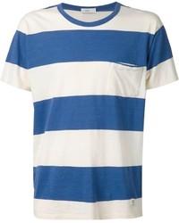 weißes und blaues horizontal gestreiftes T-Shirt mit einem Rundhalsausschnitt von Closed