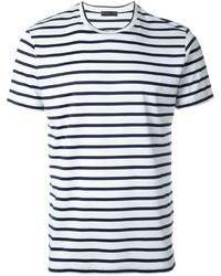 weißes und blaues horizontal gestreiftes T-Shirt mit einem Rundhalsausschnitt von Etro