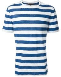 weißes und blaues horizontal gestreiftes T-Shirt mit einem Rundhalsausschnitt von Michael Kors