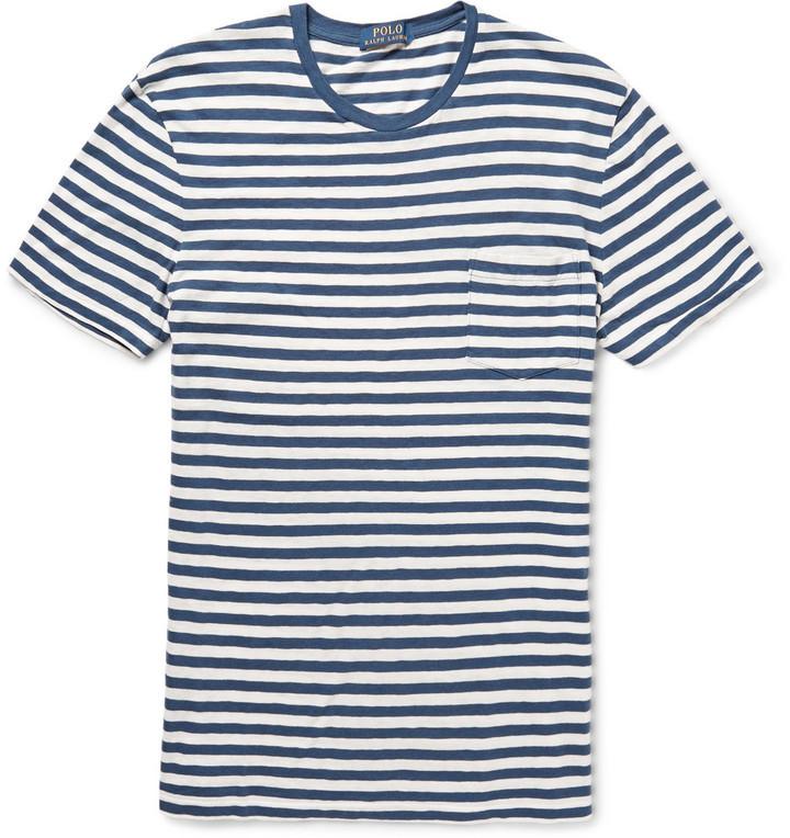 4e1112c71402 ... Rundhalsausschnitt weißes und blaues horizontal gestreiftes T-Shirt mit  einem Rundhalsausschnitt von Polo Ralph Lauren ...