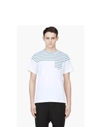 weißes und blaues horizontal gestreiftes T-Shirt mit einem Rundhalsausschnitt von Sacai
