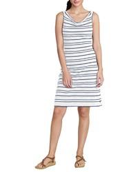 weißes und blaues horizontal gestreiftes Trägerkleid von Eddie Bauer