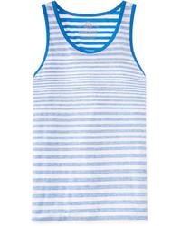 weißes und blaues horizontal gestreiftes Trägershirt