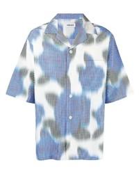 weißes und blaues Kurzarmhemd mit Blumenmuster von Kenzo