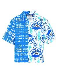 weißes und blaues Kurzarmhemd mit Blumenmuster von Prada