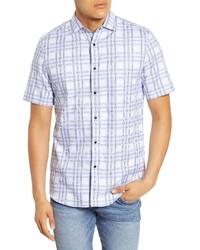 weißes und blaues Kurzarmhemd mit Karomuster