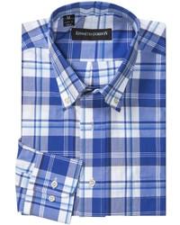 weißes und blaues Langarmhemd mit Schottenmuster