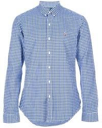 Weißes und blaues Langarmhemd mit Vichy-Muster