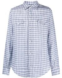 weißes und blaues Langarmhemd mit Vichy-Muster von Alanui