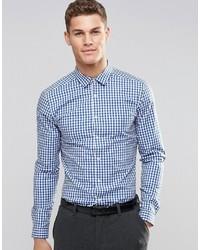 Weißes und blaues Langarmhemd mit Vichy-Muster von Asos