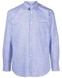 weißes und blaues Langarmhemd mit Vichy-Muster von Comme Des Garcons SHIRT