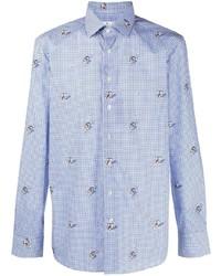 weißes und blaues Langarmhemd mit Vichy-Muster von Etro