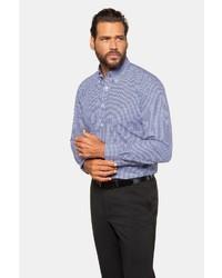 weißes und blaues Langarmhemd mit Vichy-Muster von JP1880
