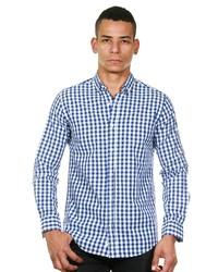 weißes und blaues Langarmhemd mit Vichy-Muster von NO 8 STUDIO