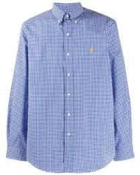 weißes und blaues Langarmhemd mit Vichy-Muster von Polo Ralph Lauren