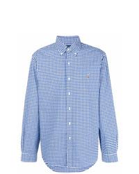 weißes und blaues Langarmhemd mit Vichy-Muster von Ralph Lauren
