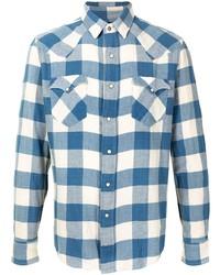 weißes und blaues Langarmhemd mit Vichy-Muster von Ralph Lauren RRL