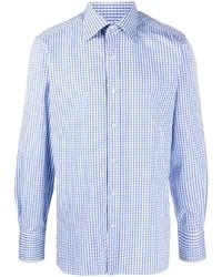 weißes und blaues Langarmhemd mit Vichy-Muster von Tom Ford
