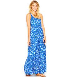weißes und blaues Maxikleid mit Blumenmuster