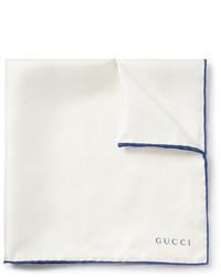 weißes und blaues Seide Einstecktuch von Gucci