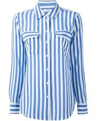 weißes und blaues vertikal gestreiftes Businesshemd