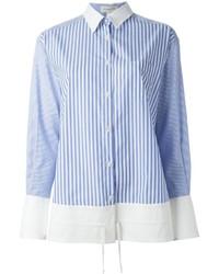 weißes und blaues vertikal gestreiftes Businesshemd von Aquilano Rimondi