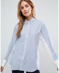 weißes und blaues vertikal gestreiftes Businesshemd von Asos