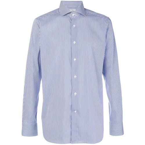 weißes und blaues vertikal gestreiftes Businesshemd von Bagutta