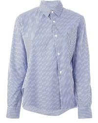 weißes und blaues vertikal gestreiftes Businesshemd von Comme Des Garcons Comme Des Garcons