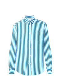 weißes und blaues vertikal gestreiftes Businesshemd von Department 5