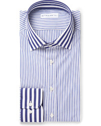 weißes und blaues vertikal gestreiftes Businesshemd von Etro