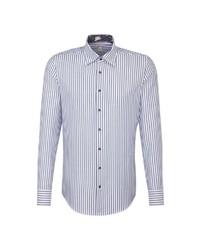 weißes und blaues vertikal gestreiftes Businesshemd von Jacques Britt
