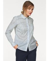 weißes und blaues vertikal gestreiftes Businesshemd von Marc O'Polo