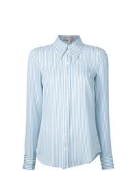 weißes und blaues vertikal gestreiftes Businesshemd von Michael Kors Collection