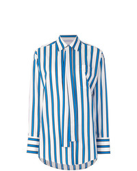 weißes und blaues vertikal gestreiftes Businesshemd von MSGM