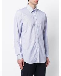 weißes und blaues vertikal gestreiftes Businesshemd von Xacus