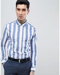 weißes und blaues vertikal gestreiftes Businesshemd von Process Black