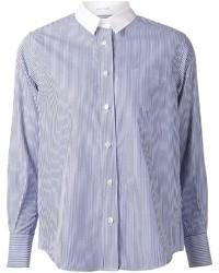 weißes und blaues vertikal gestreiftes Businesshemd von Sacai