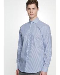 weißes und blaues vertikal gestreiftes Businesshemd von Seidensticker